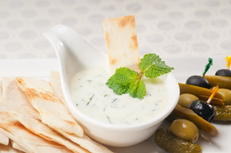 fresh Greek Tzatziki yogurt dip and pita bread and pickels Stock Photo - 17846730