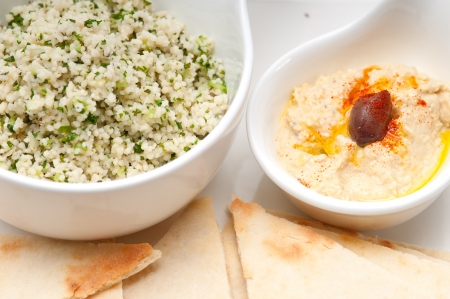 fresh traditional arab taboulii couscous with hummus Stock Photo - 17846742