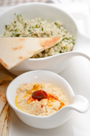 fresh traditional arab taboulii couscous with hummus Stock Photo - 17846732