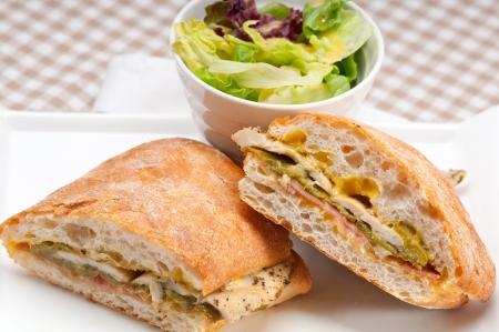 traditional Italian ciabatta panini sandwich chicken vegetables and aioli