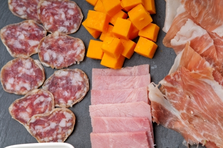 assorted fresh cold cut platter Italian appetizer photo