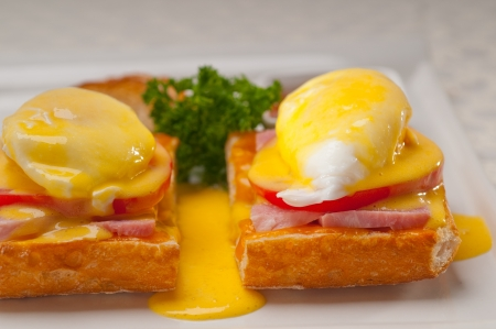 fresh eggs benedict on bread with tomato and ham Stock Photo - 18007929