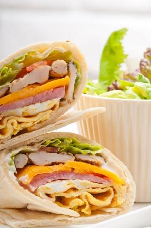 fresh and healthy club sandwich pita bread roll Stock Photo - 18084485