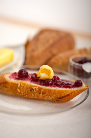 bread butter and jam classic European breakfast Stock Photo - 18399602