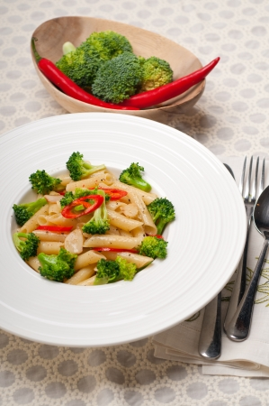 classic Italian penne pasta with broccoli and red chili pepper Stock Photo - 18399621