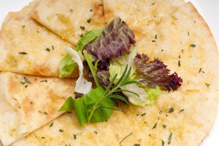 fresh healthy garlic pita bread pizza with salad on top Stock Photo - 18399609