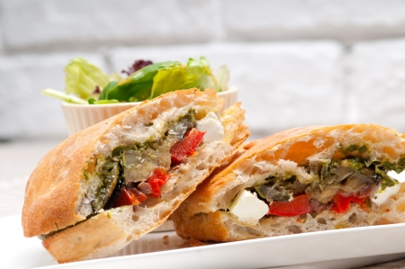 Italian ciabatta panini sandwichwith with vegetable and feta cheese Stock Photo - 18511602