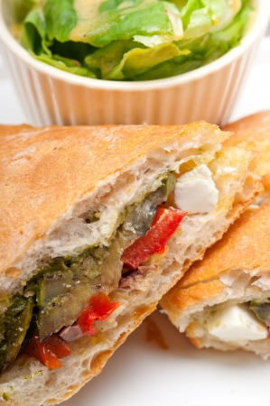 Italian ciabatta panini sandwichwith with vegetable and feta cheese Stock Photo - 18511606
