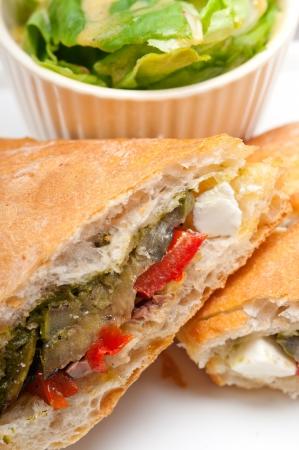 Italian ciabatta panini sandwichwith with vegetable and feta cheese Stock Photo - 18511606