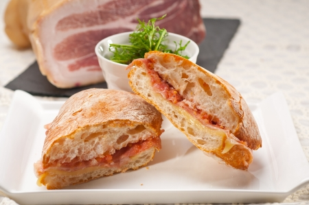 Italian ciabatta panini sandwich with parma ham and tomato Stock Photo - 18511597
