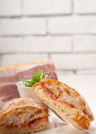 Italian ciabatta panini sandwich with parma ham and tomato Stock Photo - 18511573