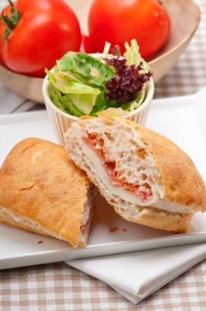 Italian ciabatta panini sandwich with parma ham and tomato Stock Photo - 18511609