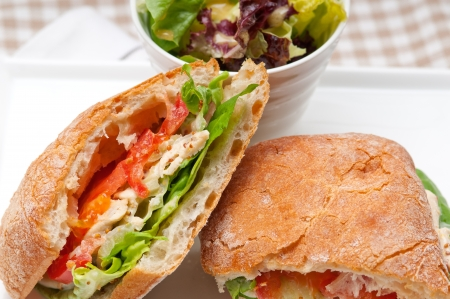 italian ciabatta panini sandwich with chicken and tomato Stock Photo - 18511620