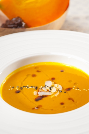 fresh classic traditional natural  pumpkin soup closeup macro Stock Photo - 18511535