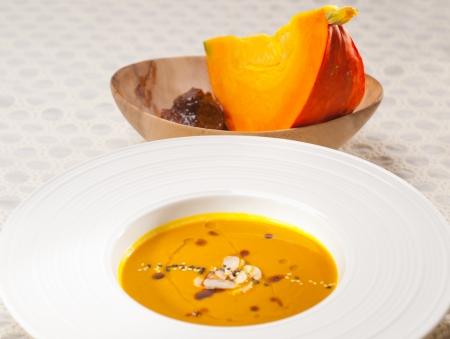 fresh classic traditional natural  pumpkin soup closeup macro Stock Photo - 18511533