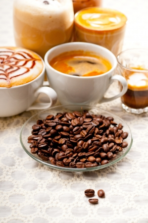 group selection of different Italian coffee type photo