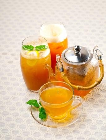 fresh brewed selection of tea clodeup macro photo