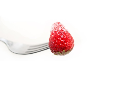srawberry on a fork with sugar crust  isolated over white photo