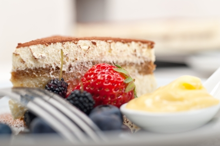 classic Italian tiramisu dessert with berries and custartd pastry cream on side  Stock Photo - 18934264