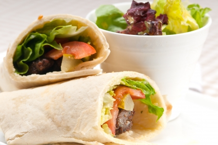 turkish kebab: kafta shawarma chicken pita wrap roll sandwich traditional arab mid east food