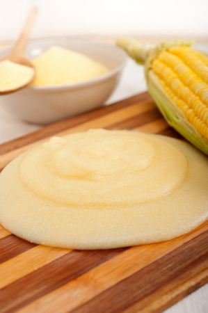 polenta traditional north Italy corn mais flour cream with crop Stock Photo - 19016804