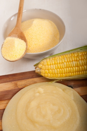 polenta traditional north Italy corn mais flour cream with crop Stock Photo - 19016807