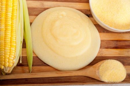 polenta traditional north Italy corn mais flour cream with crop Stock Photo - 19016815