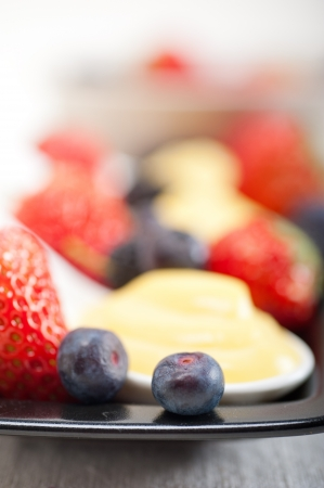 home made custard pastry cream and fresh  berries Stock Photo - 19016849