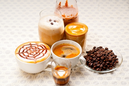 group selection of different Italian coffee type Stock Photo - 19016855
