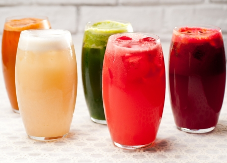 selection of fresh  fruits colorful long drink cocktails Stock Photo - 19016847