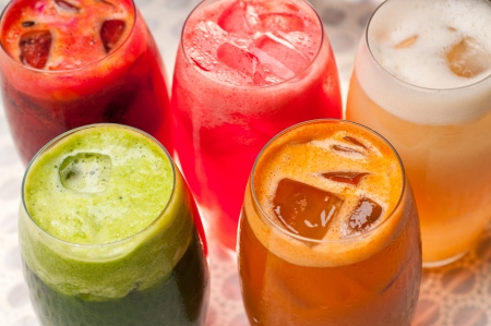selection of fresh  fruits colorful long drink cocktails Stock Photo - 19016856