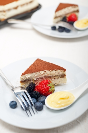 classic Italian tiramisu dessert with berries and custartd pastry cream on side  Stock Photo - 19016845