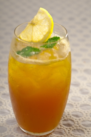 refreshing Ice tea closeup macro with lemon and mint leaves Stock Photo - 19016851