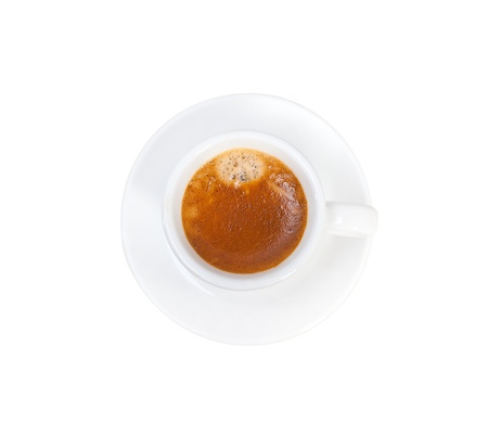 Italian espresso coffee  cup isolated on white macro Stock Photo - 19128476