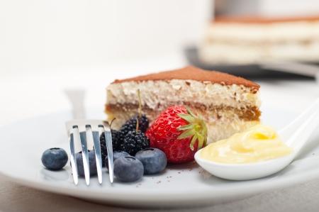 classic Italian tiramisu dessert with berries and custartd pastry cream on side Stock Photo - 19128488
