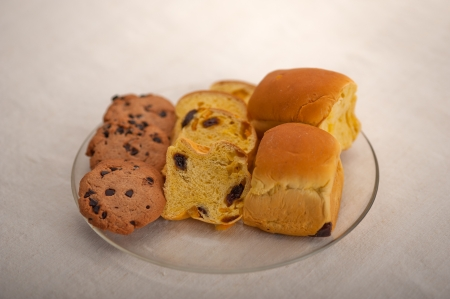 selection of sweet bread and cookies for breakfast Stock Photo - 19128493