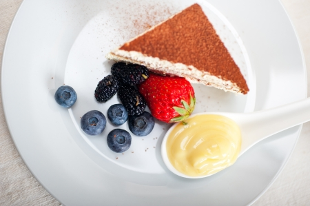 classic Italian tiramisu dessert with berries and custartd pastry cream on side  Stock Photo - 19128494