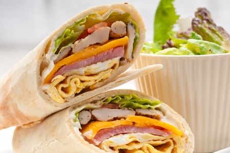 fresh and healthy club sandwich pita bread roll photo
