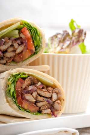 kafta shawarma chicken pita wrap roll sandwich traditional arab mid east food photo