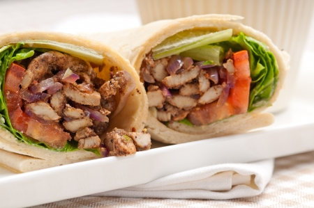 kafta shawarma chicken pita wrap roll sandwich traditional arab mid east food