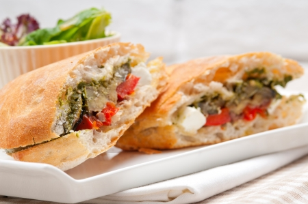Italian ciabatta panini sandwichwith with vegetable and feta cheese Stock Photo - 19277487