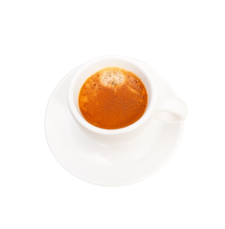 Italian espresso coffee  cup isolated on white macro Stock Photo - 19277460