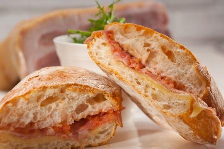 Italian ciabatta panini sandwich with parma ham and tomato Stock Photo - 19277512
