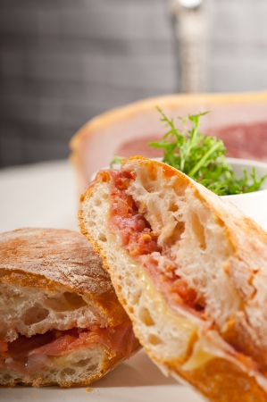 Italian ciabatta panini sandwich with parma ham and tomato Stock Photo - 19277499