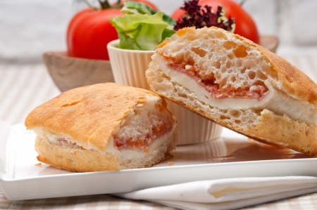 Italian ciabatta panini sandwich with parma ham and tomato Stock Photo - 19277506