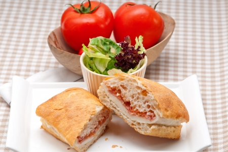 Italian ciabatta panini sandwich with parma ham and tomato Stock Photo - 19283586