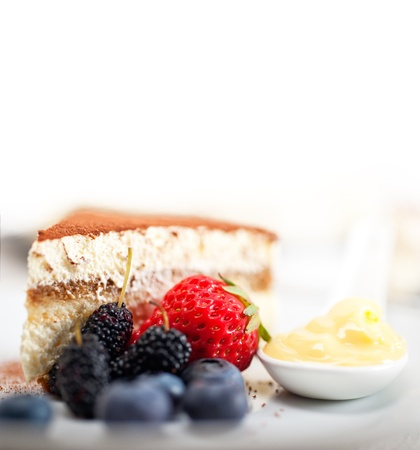 classic Italian tiramisu dessert with berries and custartd pastry cream on side  Stock Photo - 19277474