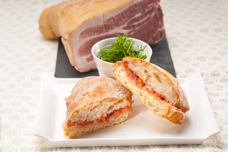 Italian ciabatta panini sandwich with parma ham and tomato Stock Photo - 19413072