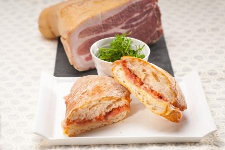 Italian ciabatta panini sandwich with parma ham and tomato Stock Photo - 19413072
