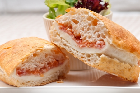 Italian ciabatta panini sandwich with parma ham and tomato Stock Photo - 19413079